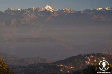 Ganchengpo w masywie Langtang, widok z Nagarkot